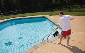daily brushing of pools to clean