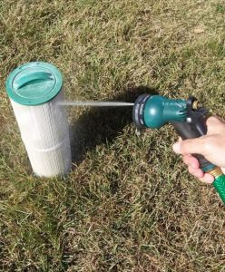 A high-pressure, fresh-water stream should be used to rinse the filter.