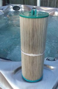 The hot tub filter should be removed and cleaned regularly.
