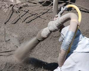 Gunite Nozzle Spray Application for Pool Construction
